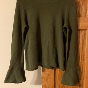 Madewell Ribbed Bell Sleeve Blouse in Olive Green